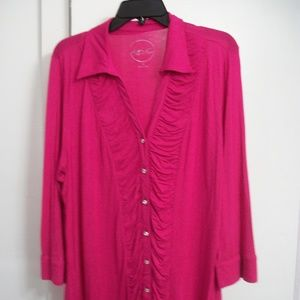 INTERNATIONAL CONCEPTS PLUS SIZE RUCHED FRONT TOP